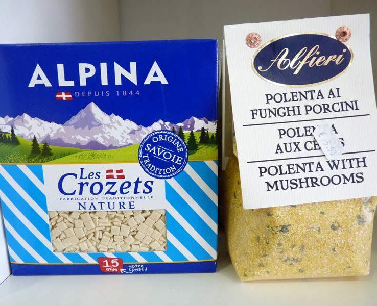 Crozets de Savoie et polenta aux cèpes Alfieri