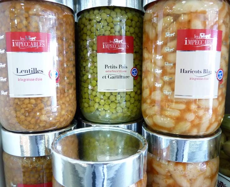 Conserves Les Impeccables 2 Petis pois et carottes, haricots verts extra-fins, flageolets verts extra-fins, pots en verre