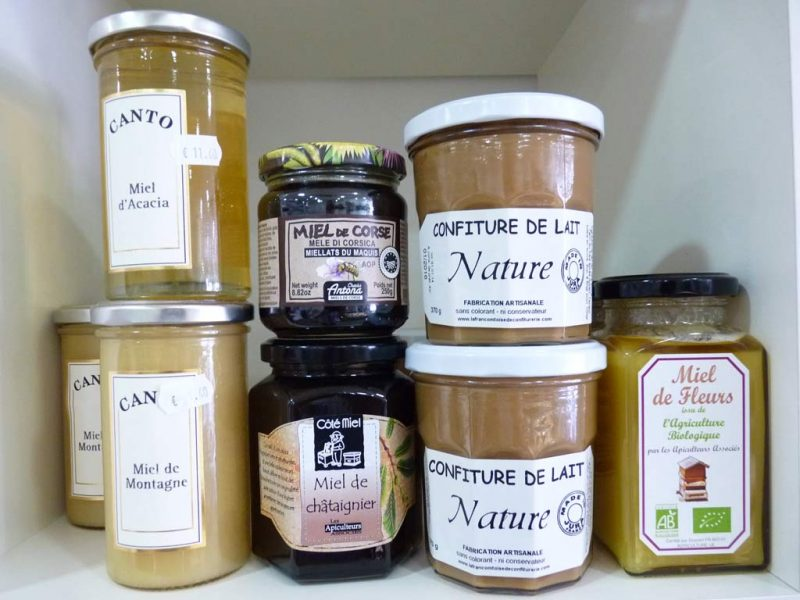Miel de montagne et miel d'acacia Canto, miel de châtaignier, miellats du maquis corse AOP Antona, confiture de lait artisanale du Jura, miel de fleurs bio