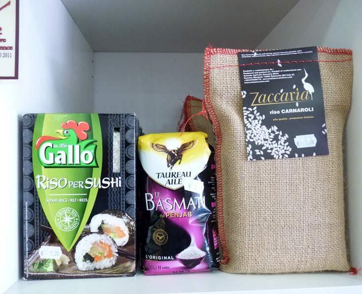 Riz d'origines Riso per sushi Gallo, Basmati Taureau Ailé, riso Carnoli Zaccaria