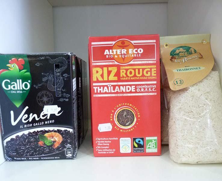 Riz spéciaux Riz noir Gallo, riz rouge de Thïlande Alter Eco bio, riso thaibonnet la Riséra