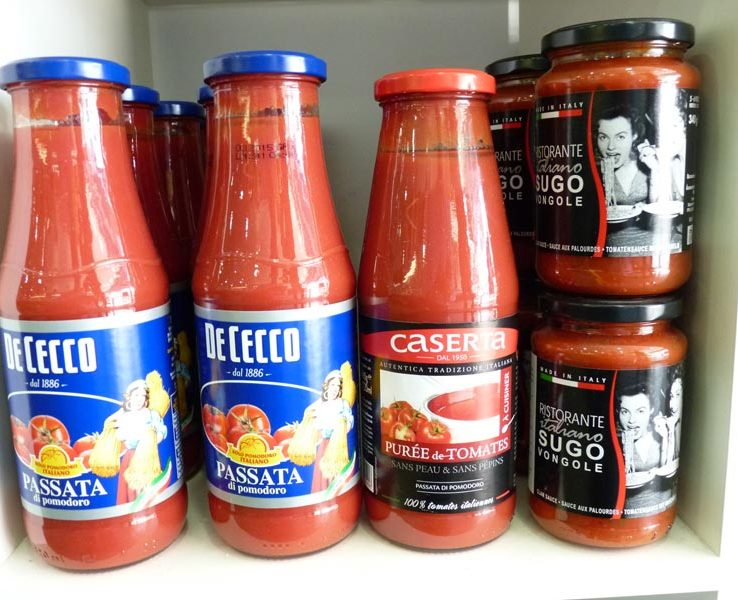Sauces tomate verre