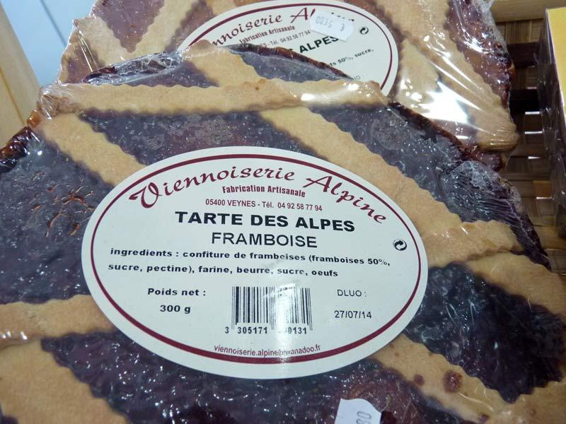 Tarte des Alpes aux framboises Viennoiserie Alpine, fabrication artisanale à 05400 Veynes