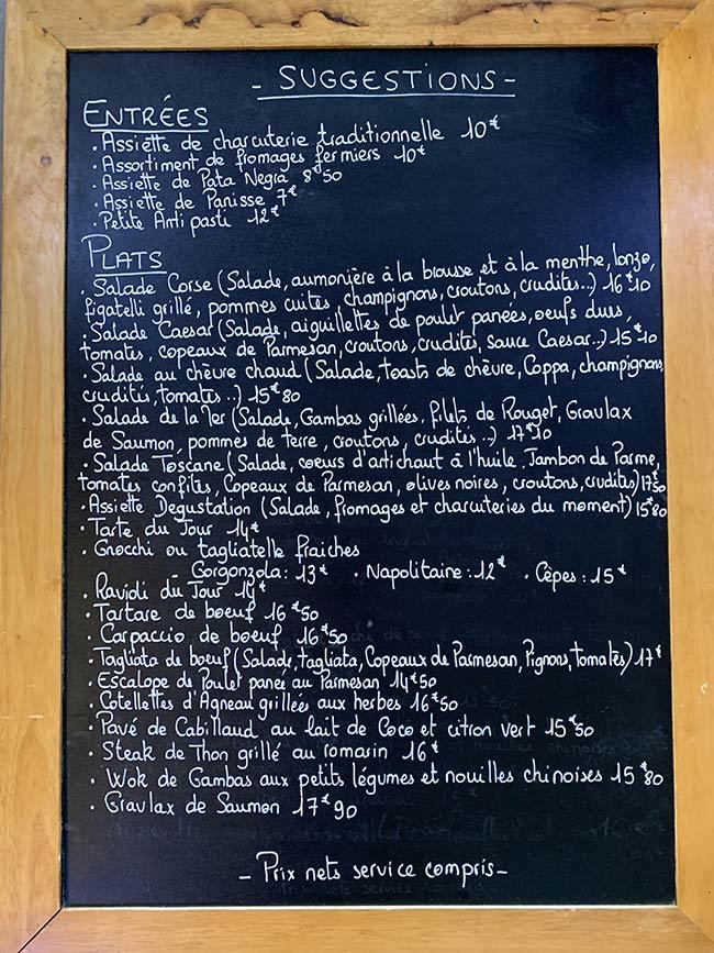 Menu de midi du resstaurant du Royaume de la Chantilly - automne 2019