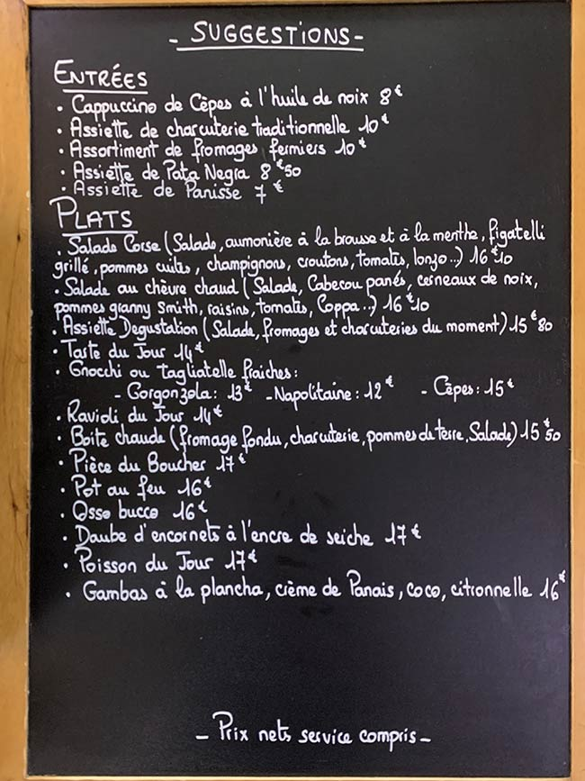 Menu de midi du restaurant du Royaume de la Chantilly - hiver 2019