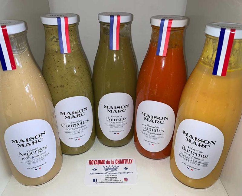 Veloutés en bouteilles verre de la Maison Marc, 100% français. Velouté asperges, courgettes, poireaux, tomates, butternut