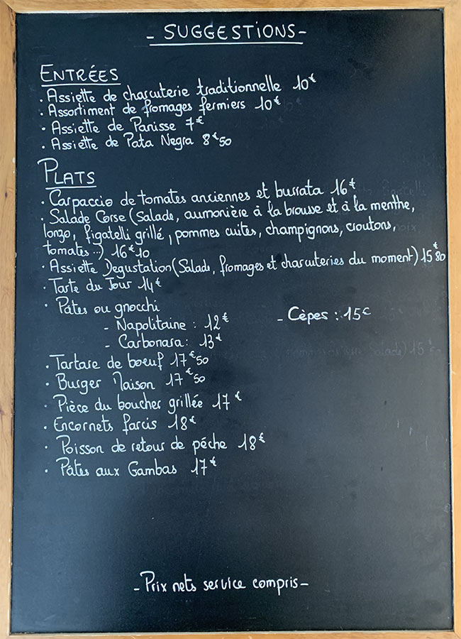 Menu de midi du restaurant du Royaume de la Chantilly - Eté 2020